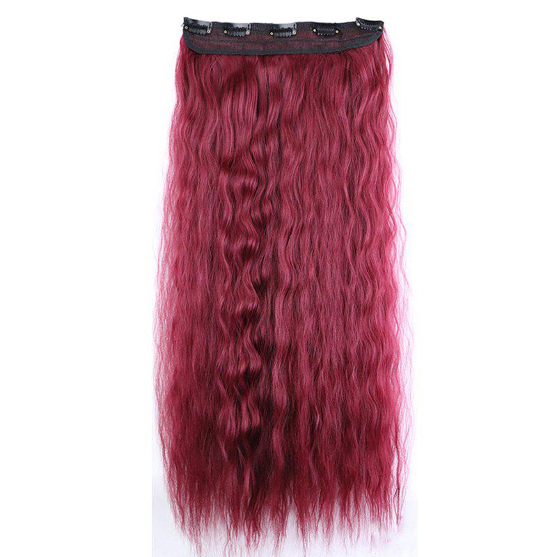 New Fashion Women Long Hair Extension Wave Curls Corn Perm Wig - BURGUNDY