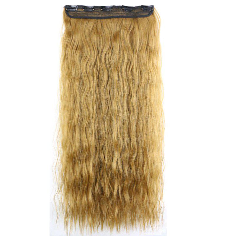 New Fashion Women Long Hair Extension Wave Curls Corn Perm Wig - LIGHT GOLD