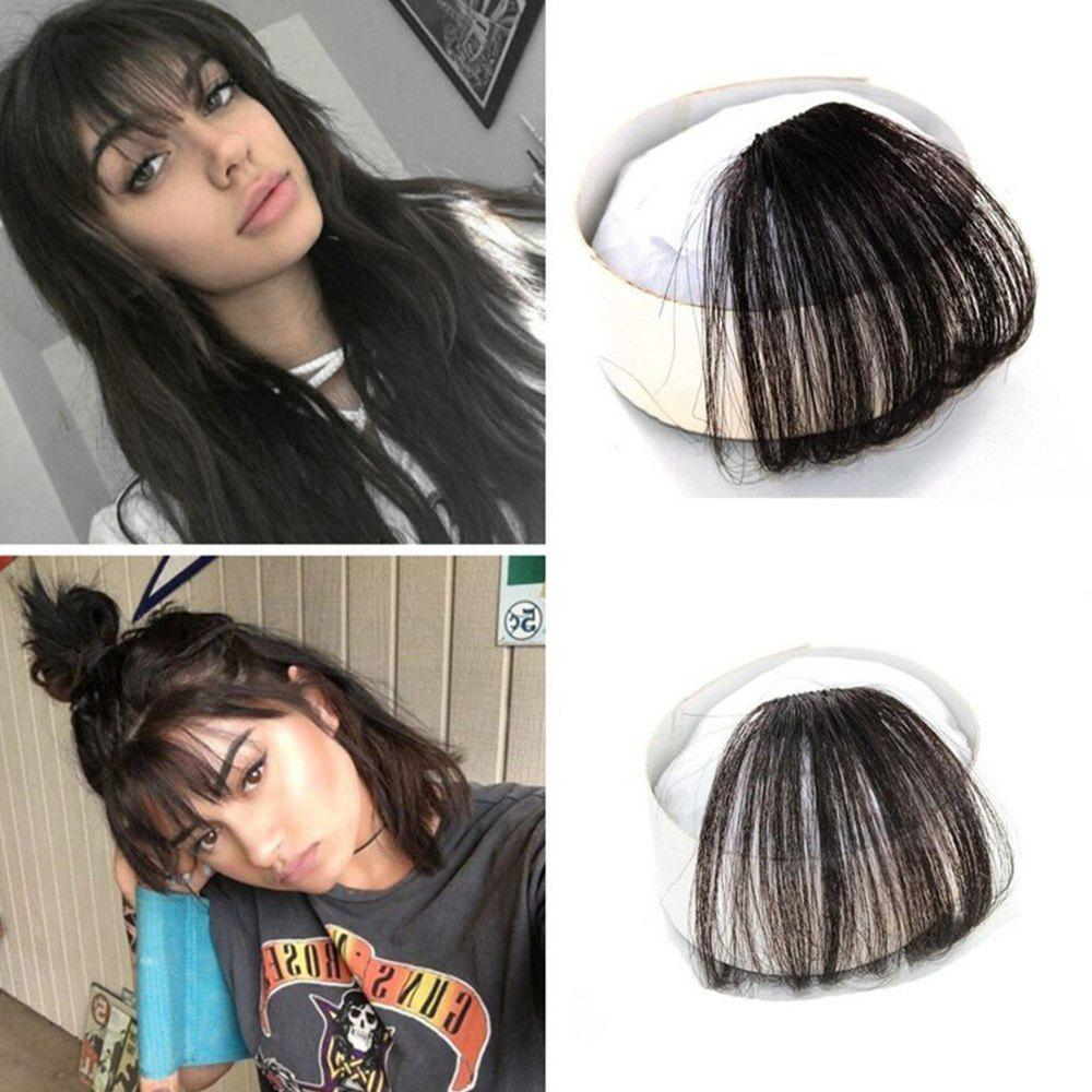 2018 100 Percent Real Human Front Fringe Clip In Bangs Medium Brown