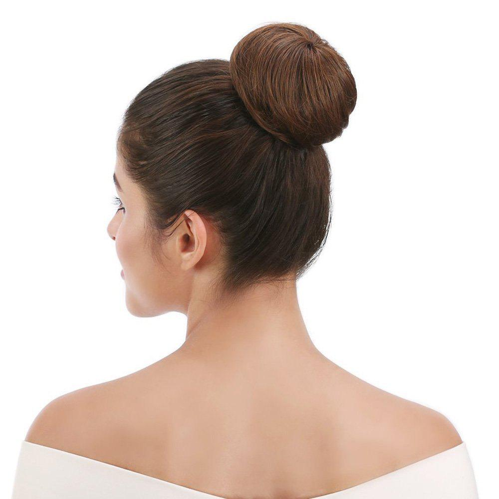 Synthetic Up Do Hair Bun Extension Donuts Chignon Hairpiece - BROWN