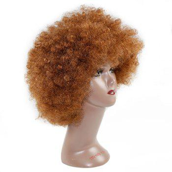 Unisex Afro Short Wig Curly Multicolour Halloween Hair Accessory - BROWN 1PC