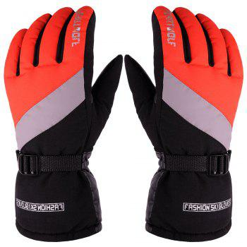 Edition Ski Against Wind and Anti-Water Winter Cycling Anti-Cold Outdoor Warm Gloves - RED-GRAY RED GRAY