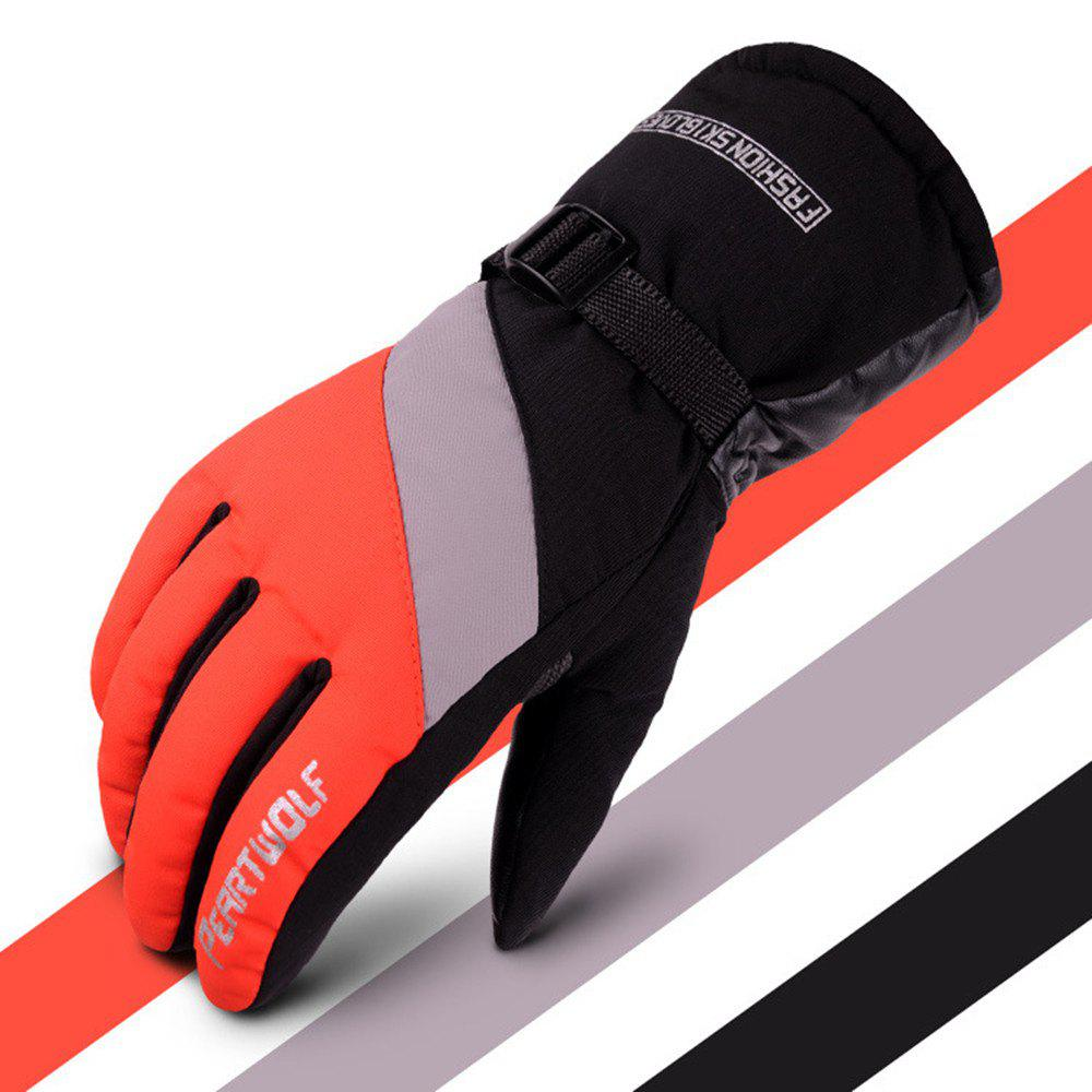 Edition Ski Against Wind and Anti-Water Winter Cycling Anti-Cold Outdoor Warm Gloves - RED GRAY 24X9.5X25CM