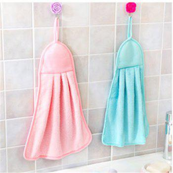 Kitchen Towel Hanging Coral Fleece Super Absorbent Hair Oil Cloth Washing Cloth Hand Towel Soft Children's Hanging Bath Face Wipe Towel - PINK