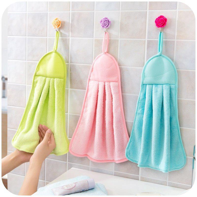 Kitchen Towel Hanging Coral Fleece Super Absorbent Hair Oil Cloth Washing Cloth Hand Towel Soft Children's Hanging Bath Face Wipe Towel - BLUE