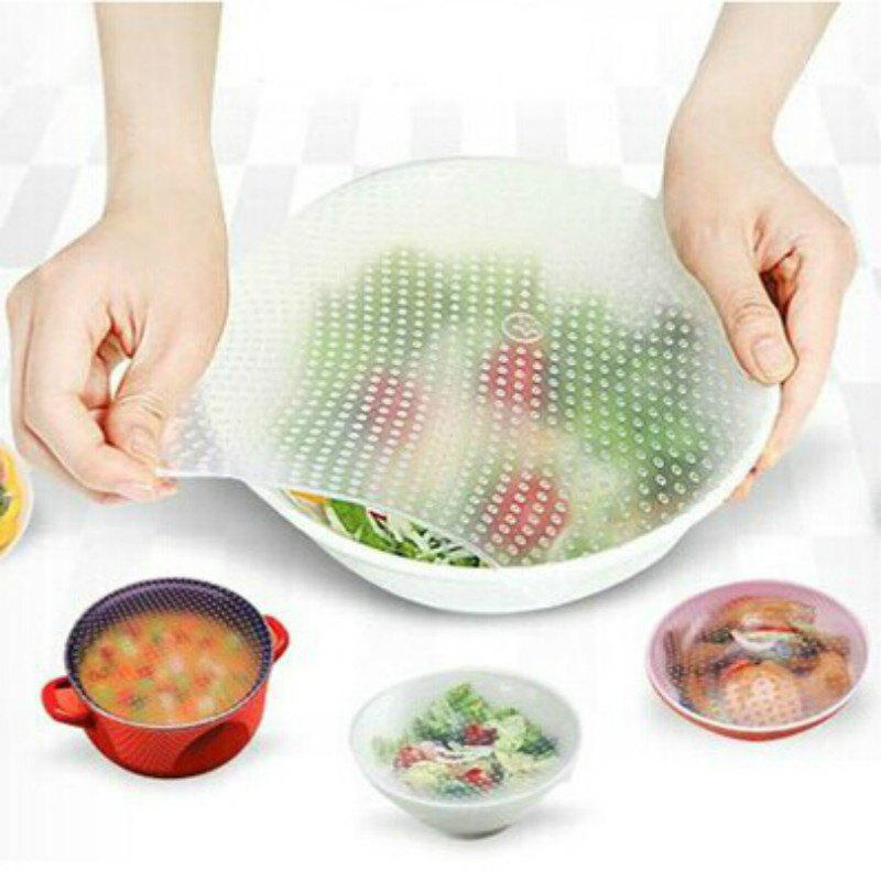 Food Grade Silicone Wrap Reusable Sealing Cover Universal Bowl Cover - TRANSPARENT 10 CM