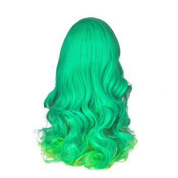 Hairyougo 28inch Wavy Cosplay Wigs High Temperature Fiber Synthetic Hair Green Women Party Wig 4068 - GREEN 28INCH