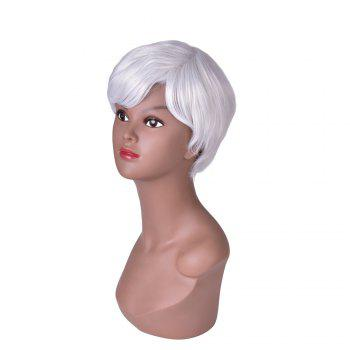 Hairyougo Short Straight Wig Silver Gray Ombre Rose Net Synthetic Women Hair Piece for Party Cosplay -  WHITE