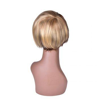 Hairyougo Short Straight Wig Black Blonde Ombre Rose Net Synthetic Women Hair - BLONDE