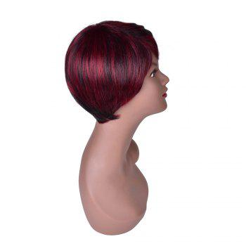 Hairyougo Red Short Synthetic Hair with Black Strip Natural Straight Heat Resistant Party Full Wig for Women - RED