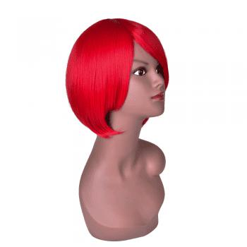 Hairyougo 6 inch Short Straight High Temperature Fiber Synthetic Bob Wig - RED