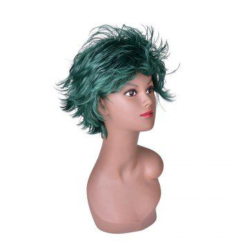 Hairyougo 4070 Heat Resistance Short Fluffy Layered Synthetic Cosplay Wig - GREEN