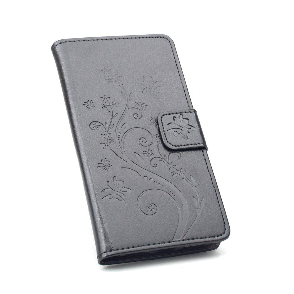 Luxury Wallet Case for Huawei Maimang 6 Phone Wallet Leather MobiLe Phone Holster Case - BLACK