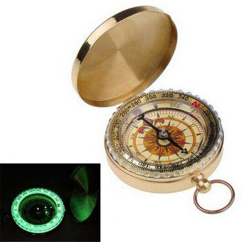 Camping Hiking Portable Brass Pocket Golden Compass Navigation for Outdoor Activities - GOLDEN GOLDEN