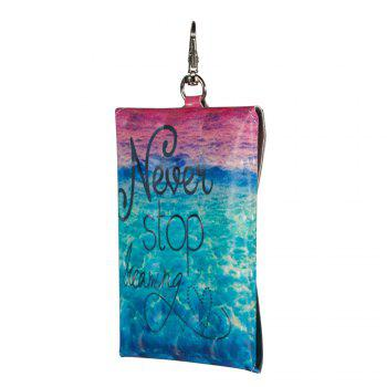 Fashion Coloured Drawing or Pattern Wallet Clutch Artificial Card Holder Purse Phone Key Bag - BLUE