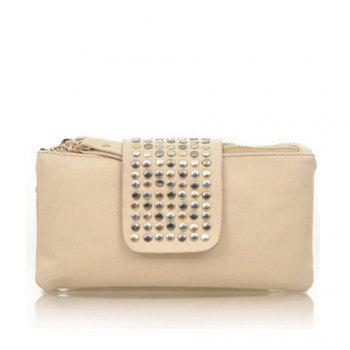 Women's Clutch Bag Simple Solid Rivets Rectangle Purse - WHITE WHITE