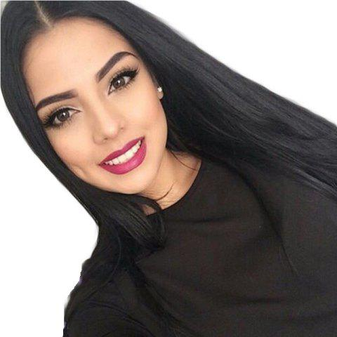Modern Fairy Virgin Human Hair Front Lace Wig Straight Free Part - BLACK 22INCH