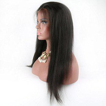Modern Fairy Virgin Human Hair Front Lace Wig Straight Free Part - BLACK BLACK