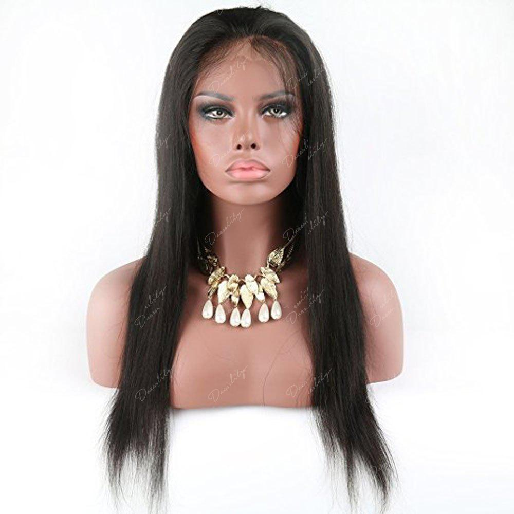 Modern Fairy Virgin Human Hair Front Lace Wig Straight Free Part - BLACK 26INCH