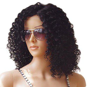 Brazilian Human Hair Front Lace Wig Kinky Curly - BLACK 10INCH
