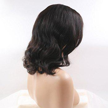 Brazilian Human Hair Front Lace Wig Loose Wave Side Part - BLACK 10INCH