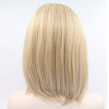 Remy Brazilian Human Hair Short Bob  for Black Women Ombre Blonde Lace Front  No Split Ends - BLONDE 10INCH