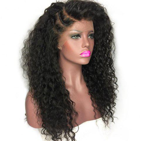 Non-remy Curly Wigs  Nature Color Peruvian Lace Front Human Hair  Frontal Lace - BLACK 14INCH