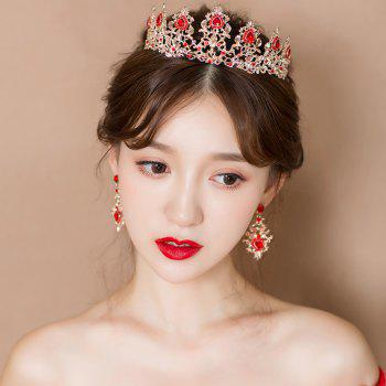 Gold Plated Red Crystal Crown and Pair of Earrings Jewelry Set - GOLD