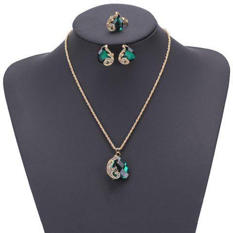 Women Girls Jewelry Set Crystal Rhinestone Pendant Necklace Earrings and Ring Trendy Ornament Gifts - GREEN