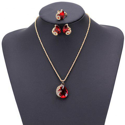 Women Girls Jewelry Set Crystal Rhinestone Pendant Necklace Earrings and Ring Trendy Ornament Gifts - RED