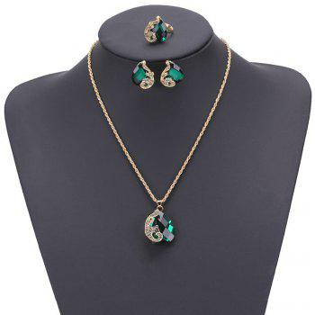 Women Girls Jewelry Set Crystal Rhinestone Pendant Necklace Earrings and Ring Trendy Ornament Gifts - GREEN GREEN