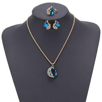 Women Girls Jewelry Set Crystal Rhinestone Pendant Necklace Earrings and Ring Trendy Ornament Gifts - BLUE BLUE