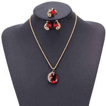 Women Girls Jewelry Set Crystal Rhinestone Pendant Necklace Earrings and Ring Trendy Ornament Gifts - RED RED