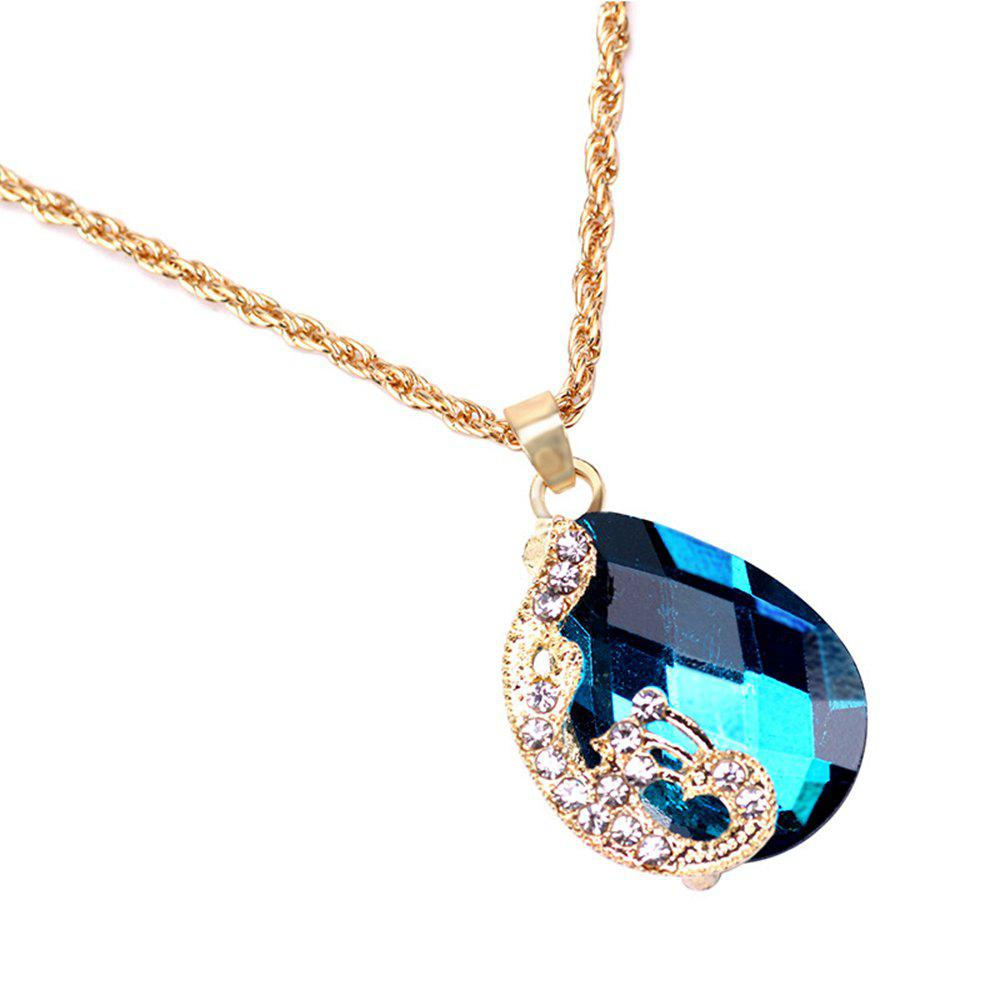 Women Girls Jewelry Set Crystal Rhinestone Pendant Necklace Earrings and Ring Trendy Ornament Gifts - BLUE