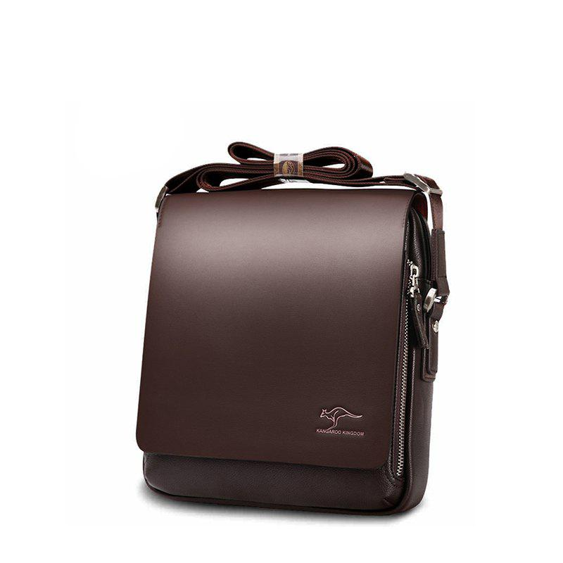 Men's One-shoulder Vertical Slanting Business Men's Bag - BROWN