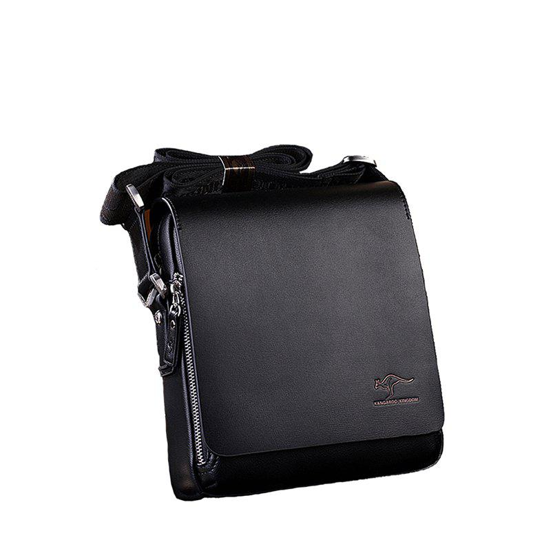 Men's One-shoulder Vertical Slanting Business Men's Bag - BLACK
