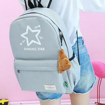 Printed Five Pointed Star Canvas Backpack - GRAY