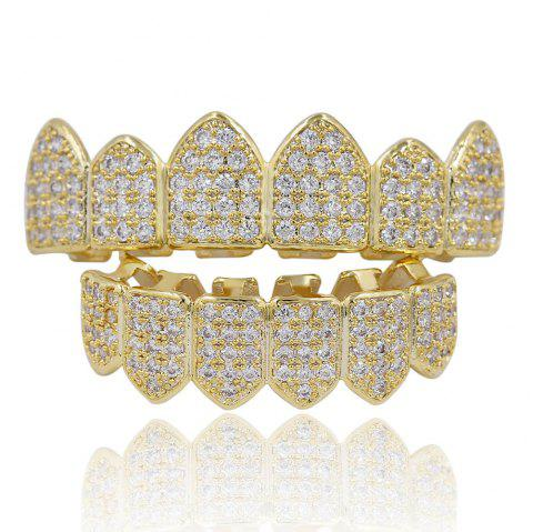 18K Gold Silver Plated Micro Pave CZ Stone Teeth Grillz - GOLDEN