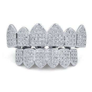 18K Gold Silver Plated Micro Pave CZ Stone Teeth Grillz - SILVER SILVER