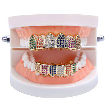 Dents Micro Stone Pave CZ Pierre Grillz - coloré
