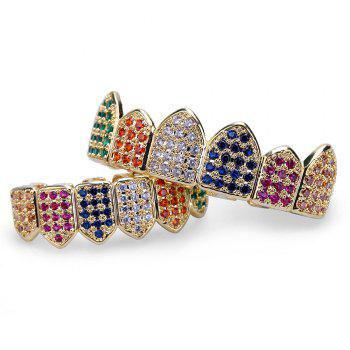 18K Gold Silver Plated Micro Pave CZ Stone Teeth Grillz - COLORFUL