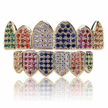 18K Gold Silver Plated Micro Pave CZ Stone Teeth Grillz - COLORFUL COLORFUL