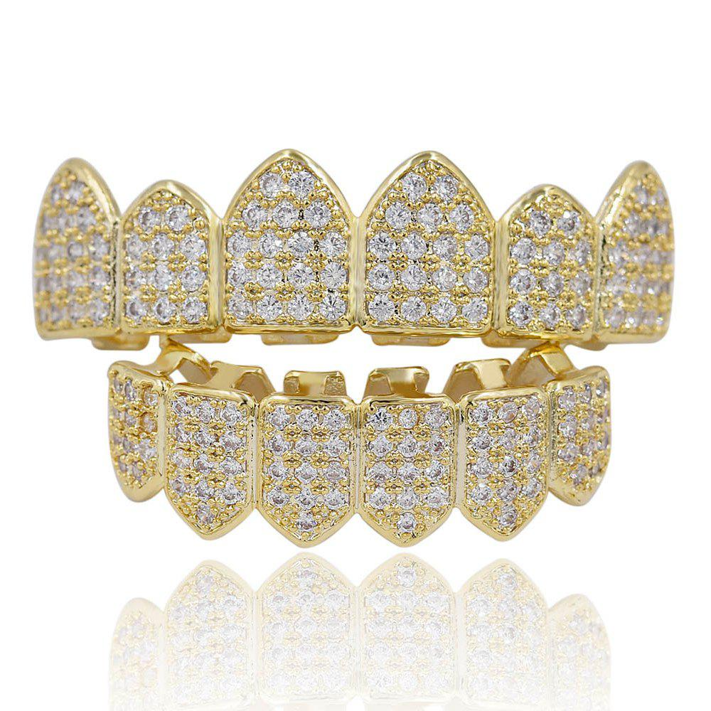 Dents Micro Stone Pave CZ Pierre Grillz - Or