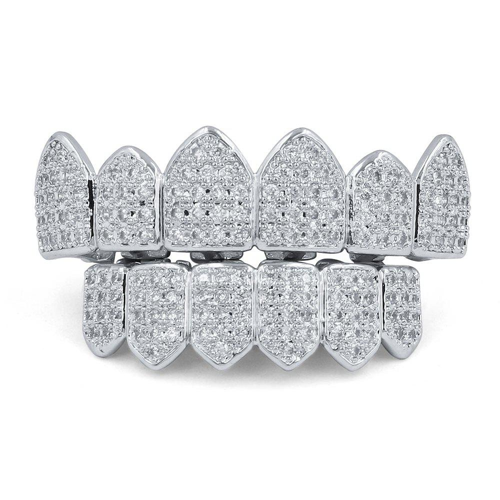 18K Gold Silver Plated Micro Pave CZ Stone Teeth Grillz - SILVER