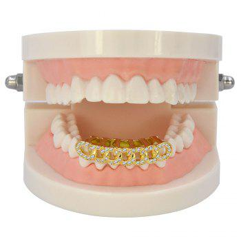 Hip Hop 18K Gold Plated Micro Pave CZ Stone Chain Teeth Grillz - GOLDEN