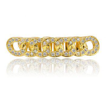 Hip Hop 18K Gold Plated Micro Pave CZ Stone Chain Teeth Grillz - GOLDEN GOLDEN