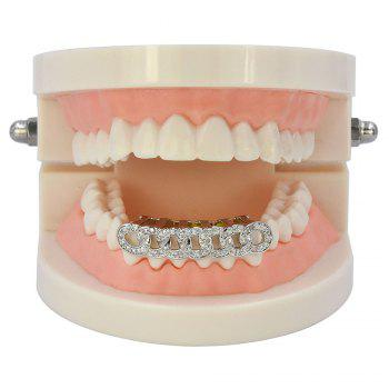 Hip Hop 18K Gold Plated Micro Pave CZ Stone Chain Teeth Grillz - SILVER