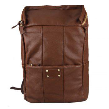 1PC Men'S Backpack  Fashion PU Leather College Bags - BROWNIE BROWNIE