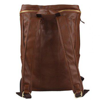 1PC Men'S Backpack  Fashion PU Leather College Bags - BROWNIE