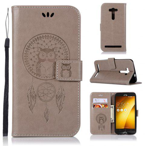 Owl Campanula Fashion Wallet Cover For Asus Zenfone 2 Laser ZE550KL / ZE551KL Phone Bag With Stand PU Flip Leather Case - GRAY